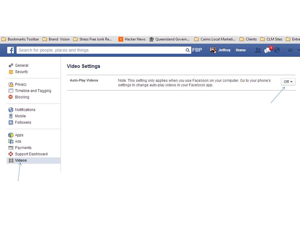 Photo showing instruction on how to stop facebook annoying auto play videos